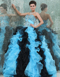 Ball-Gown Sweetheart Floor-Length Organza Quinceanera Dress With Beading Cascading Ruffles (021017443)