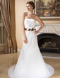 Trumpet/Mermaid Sweetheart Court Train Chiffon Wedding Dress With Ruffle Sash Flower(s) (002012892)