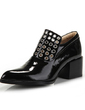 Patent Leather Chunky Heel Pumps Closed Toe shoes (085057034)