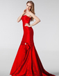 Trumpet/Mermaid Sweetheart Sweep Train Taffeta Bridesmaid Dress With Crystal Brooch Bow(s) (007000953)