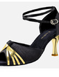 Women's Satin Leatherette Heels Sandals Latin With Ankle Strap Dance Shoes (053020318)
