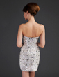 Sheath/Column Sweetheart Short/Mini Satin Sequined Cocktail Dress With Beading (016015665)