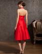 A-Line/Princess Halter Knee-Length Taffeta Homecoming Dress With Cascading Ruffles (022014892)