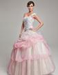 Balo Elbisesi Tek-Omuzlu Uzun Etekli Organza Quinceanera (15 Yaş) Elbisesi Ile Büzgü Boncuklama Aplike (021004716)
