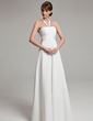 Empire Halter Floor-Length Chiffon Wedding Dress With Ruffle (002011992)