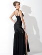 Trumpet/Mermaid Halter Floor-Length Chiffon Charmeuse Evening Dress With Ruffle (017020854)