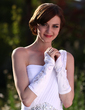 Elastic Satin Elbow Length Bridal Gloves (014003779)