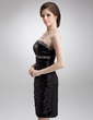 Sheath/Column Strapless Knee-Length Charmeuse Cocktail Dress With Ruffle Beading (016008249)
