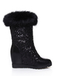 Leatherette Wedge Heel Mid-Calf Boots shoes (088057244)