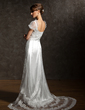 Sheath/Column Square Neckline Chapel Train Charmeuse Tulle Wedding Dress With Lace Beading Crystal Brooch (002012089)