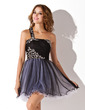 A-Line/Princess One-Shoulder Short/Mini Tulle Homecoming Dress With Ruffle Beading (022008978)