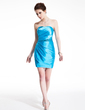 Sheath/Column Sweetheart Short/Mini Charmeuse Sequined Cocktail Dress With Ruffle (016021147)