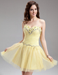 A-Line/Princess Sweetheart Short/Mini Tulle Homecoming Dress With Beading (022016306)