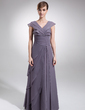 A-Line/Princess V-neck Floor-Length Chiffon Mother of the Bride Dress With Cascading Ruffles (008006165)