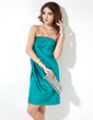 Sheath/Column Strapless Short/Mini Charmeuse Cocktail Dress With Ruffle (016021065)