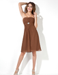 Empire Strapless Knee-Length Chiffon Bridesmaid Dress With Ruffle Crystal Brooch (007001805)