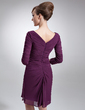 Sheath/Column V-neck Knee-Length Chiffon Mother of the Bride Dress With Ruffle Beading (008006442)