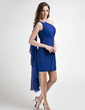 Sheath/Column One-Shoulder Short/Mini Chiffon Cocktail Dress With Ruffle Beading (016015762)