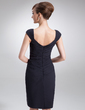 Sheath/Column Cowl Neck Knee-Length Chiffon Mother of the Bride Dress With Ruffle Beading (008005617)