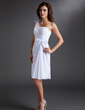 Sheath/Column One-Shoulder Knee-Length Chiffon Homecoming Dress With Ruffle Beading Bow(s) (022009926)