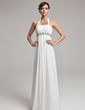 Empire Halter Floor-Length Chiffon Wedding Dress With Ruffle Beading Sequins (002012638)