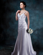 A-Line/Princess V-neck Court Train Charmeuse Wedding Dress With Ruffle (002011641)