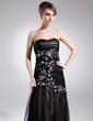 Trumpet/Mermaid Sweetheart Floor-Length Charmeuse Tulle Prom Dress With Ruffle Beading Appliques Lace (018015863)