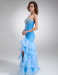 Trumpet/Mermaid Sweetheart Floor-Length Organza Prom Dress With Beading Split Front Cascading Ruffles (018016726)
