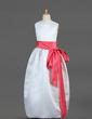 Balo Elbisesi Uzun Etekli Çiçek Kız Elbise - Saten Kolsuz Yuvarlak Yaka Ile Kuşaklar/Yaylar) (010002144)