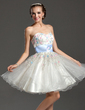 A-Line/Princess Sweetheart Knee-Length Tulle Homecoming Dress With Beading Sequins (022020991)