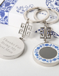 Personalized Blue-and-White Zinc Alloy Keychains (Set of 4) (051029023)