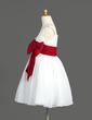 A-Line/Princess Knee-length Flower Girl Dress - Chiffon Sleeveless V-neck With Sash/Bow(s) (010014600)
