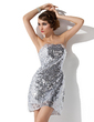 Sheath/Column Strapless Short/Mini Sequined Cocktail Dress (016020958)