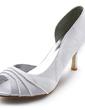 Satyna Szpilki Z Odkrytym Palcem Sandały Buty Ślubne Z Marszczenie (047005129)