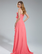 A-Line/Princess V-neck Asymmetrical Chiffon Bridesmaid Dress With Cascading Ruffles (007019618)
