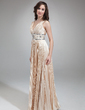 A-Line/Princess V-neck Floor-Length Charmeuse Evening Dress With Beading Pleated (017018813)