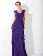 A-Line/Princess V-neck Sweep Train Chiffon Evening Dress With Cascading Ruffles (017020663)