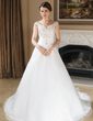 A-Line/Princess Off-the-Shoulder Chapel Train Satin Organza Wedding Dress With Embroidered Beading Sequins (002000389)