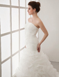 A-Line/Princess Strapless Court Train Organza Wedding Dress With Cascading Ruffles (002012011)