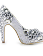 Women's Satin Cone Heel Closed Toe Platform Pumps With Rhinestone (047020108)