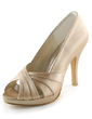 Women's Satin Cone Heel Peep Toe Platform Sandals (047005396)