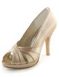Satyna Obcas Stożkowy Z Odkrytym Palcem Buty na Platformie Sandały Buty Ślubne (047005396)