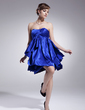 Empire Sweetheart Short/Mini Charmeuse Homecoming Dress With Ruffle Cascading Ruffles (022020877)