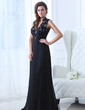 A-Line/Princess V-neck Floor-Length Chiffon Mother of the Bride Dress With Lace Beading (008017326)