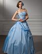 Balo Elbisesi Kalp Kesimli Uzun Etekli Taffeta Quinceanera (15 Yaş) Elbisesi Ile Büzgü Boncuklama Aplike Pullarda (021002910)