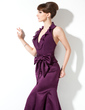 Trumpet/Mermaid Halter Sweep Train Chiffon Satin Bridesmaid Dress With Bow(s) Cascading Ruffles (007004275)