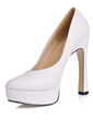 Women's Leatherette Chunky Heel Closed Toe Platform Pumps (047017482)