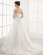 A-Line/Princess Sweetheart Chapel Train Organza Wedding Dress With Embroidered Lace Beading (002000179)