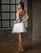 Çan/Prenses Kalp Kesimli Kısa/Mini Satin Tulle Mezunlar Gecesi Elbisesi Ile Boncuklama Pullarda (022010776)