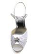 Women's Satin Stiletto Heel Pumps Sandals With Buckle Rhinestone (047039671)